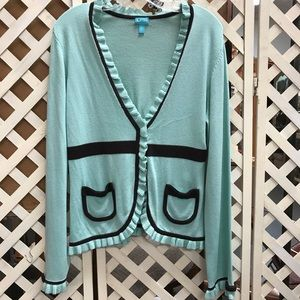 Chocolate Mint Cocoa Cardigan Sweater Ruffles